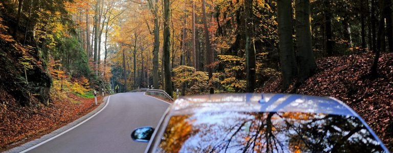 Autumn travel and trips.Road view. Car on the autumn road.Silver color car on the road with autumn bright trees on a sunny evening.Autumn landscape. Fall season.