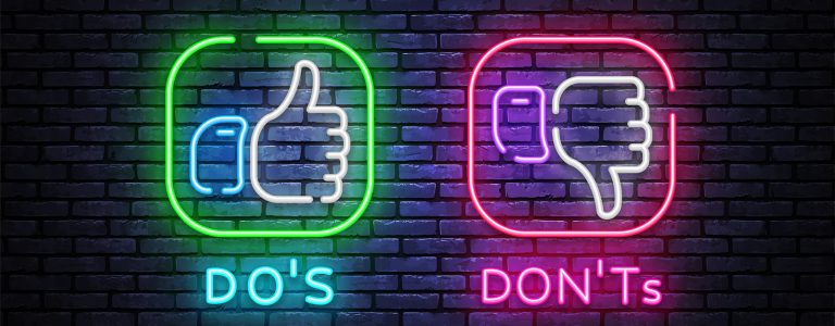 Dos Donts neon signs vector design template. Yes or No neon light banner design element colorful modern design trend, night bright advertising, bright sign. Vector illustration
